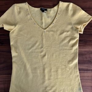 Silk/nylon top with gold studs